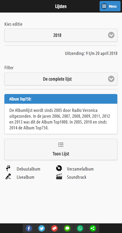 Album Top500 voor Android & iOS